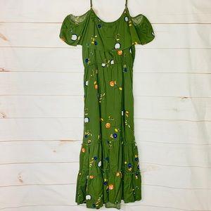 A.N.A. • Green Cold Shoulder Floral Maxi Dress